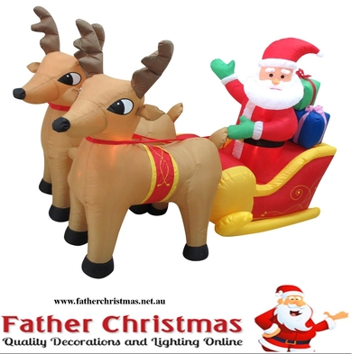 Inflatable Santa Sleigh with 2 Deers